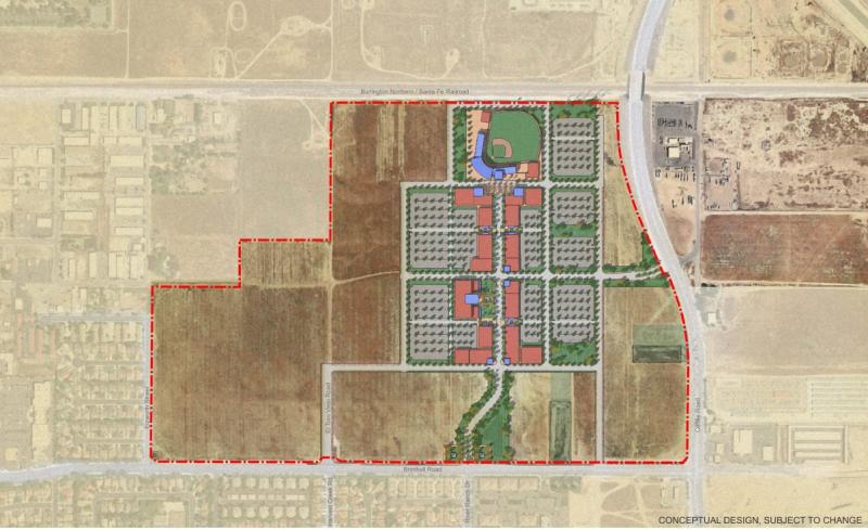 A proposed site plan for the new Bakersfield Blaze stadium