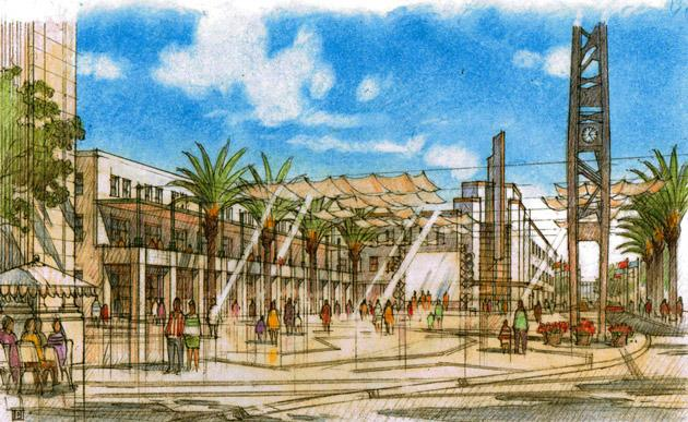 A rendering of Mariposa Plaza at the Fulton Mall