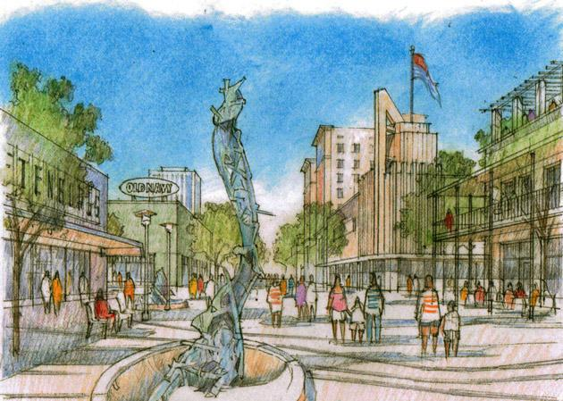 An artist's rendering of a revitalized Fulton Mall outside the Kern Street entrance to