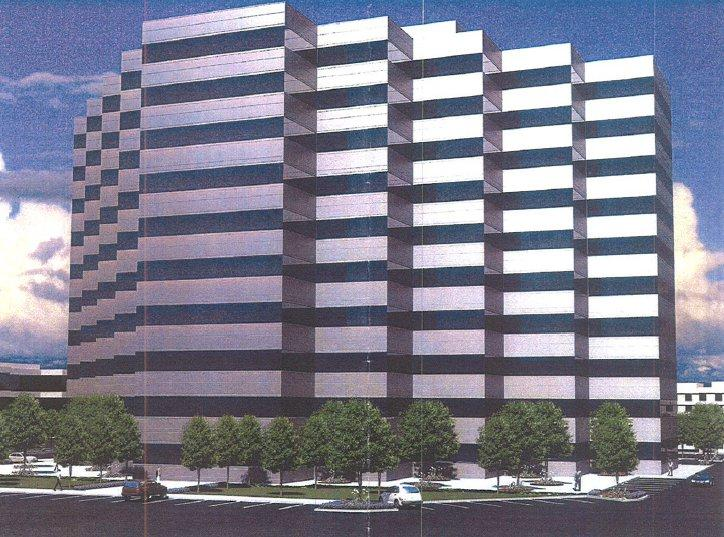 An artist's rendering of the planned 10-story tower at Highway 41 and Friant Road