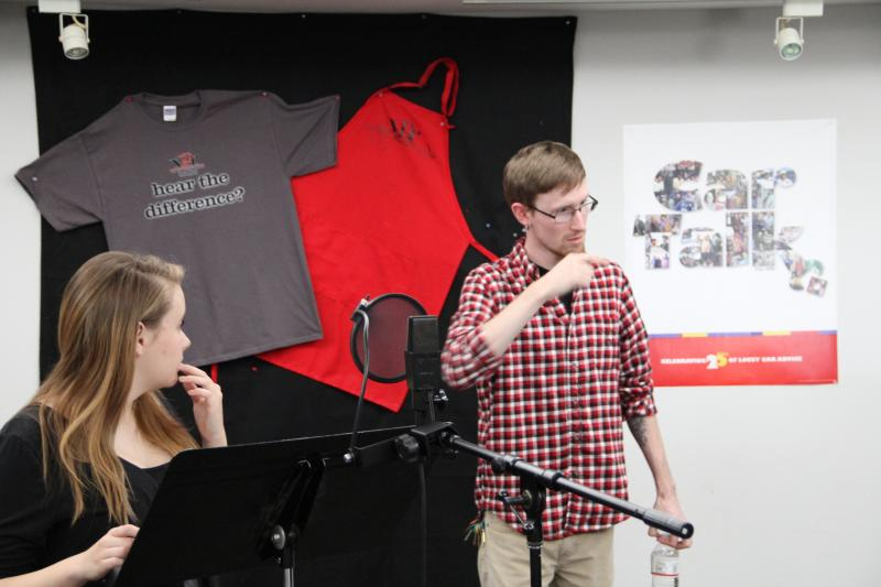 Composer Luffy Bailey (right) and vocalist Amber Lewis (left) rehearse in the Bonner Performing Arts Studio