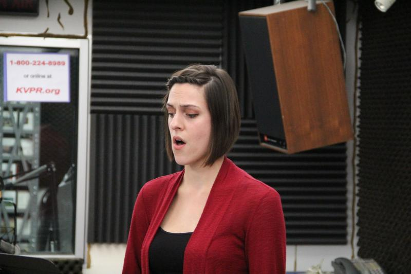 Vocalist Joslyn Sarshad performs a piece by Joseph DelGorgio on FM89's Young Artists Spotlight