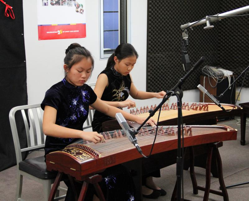 Sisters Hannah and Meghan Tran played the Chinese zither on Young Artists Spotlight
