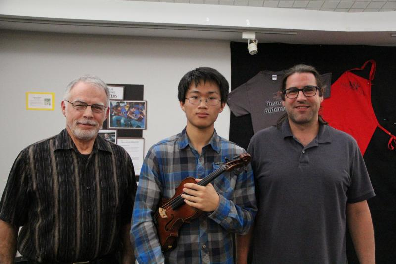 FM89's George Mason, violinist LeCheng Tong, and pianist Patrick Bender