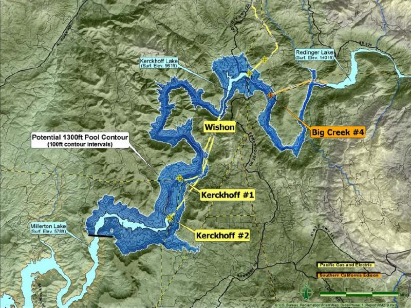 A map shows one of the potential sites for a new dam on the San Joaquin River at Temperance Flat