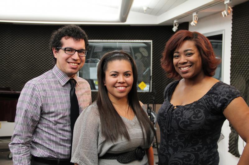 Fresno Pacific University vocalists: Michael Villarreal, Angelica Evangelista, and Chianti Wilson