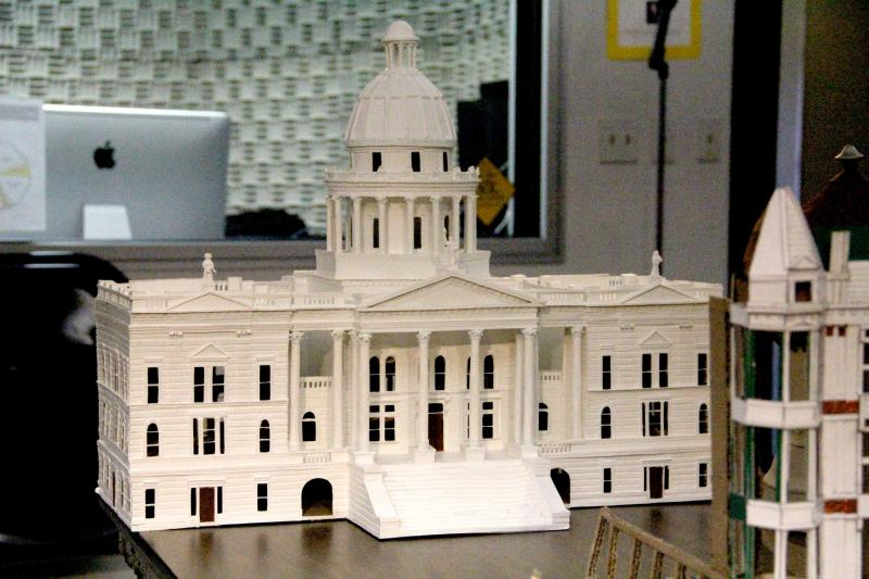The centerpiece of John Rupe's cardboard city is the old Fresno County Courthouse, which was demolished in 1966.