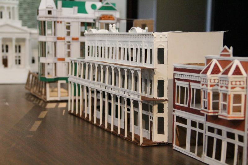 A cardboard replica of Mariposa Street shows the Grand Central Hotel, which stood at Fulton and Mariposa until the 1960's.
