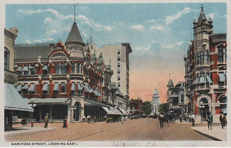 A turn-of-the-century postcard of Mariposa Street in downtown Fresno