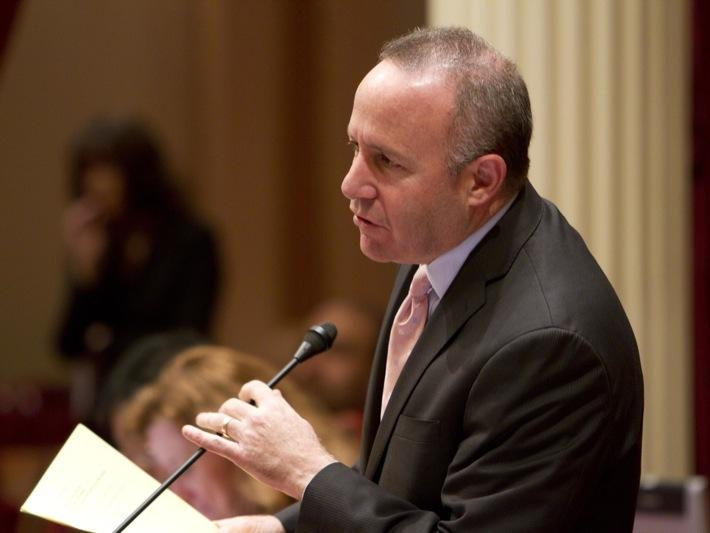 Senate President pro Tem Darrell Steinberg told reporters he is not under investigation by the FBI after his fellow Democrat, Senator Ron Calderon, made that claim in a court filing earlier this week. (file photo)