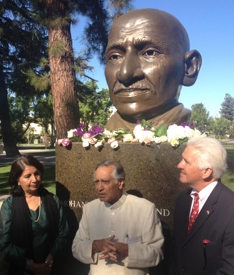 Indian Ambassador Nirupama Rao met with local leaders at the Ghandi memorial at Fresno State.