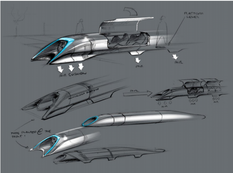 "An artist's rendering of Elon Musk's proposed ""Hyperloop"" transportation system"