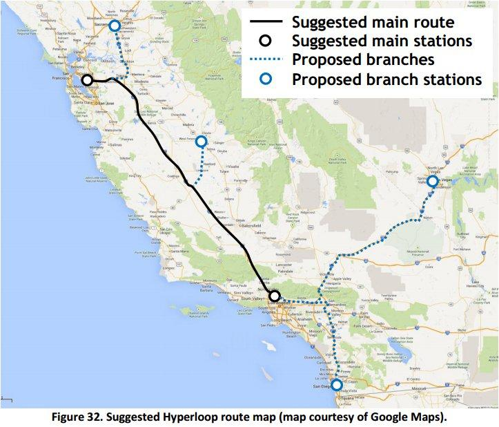 "Cities including Fresno, San Diego, Las Vegas and Sacramento could eventually be stops on the ""Hyperloop"" tube"