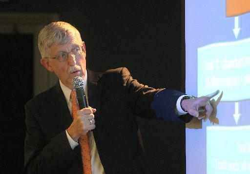 National Institutes of Health director Dr. Francis Collins describes the valley fever clinical trial during a two-day symposium on the disease in Bakersfield.