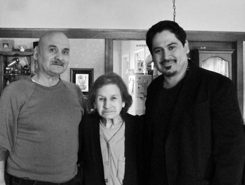 Bea Kozera, center, in 2010 with her son, Albert Franco, left, and author Tim Z. Hernandez, right.