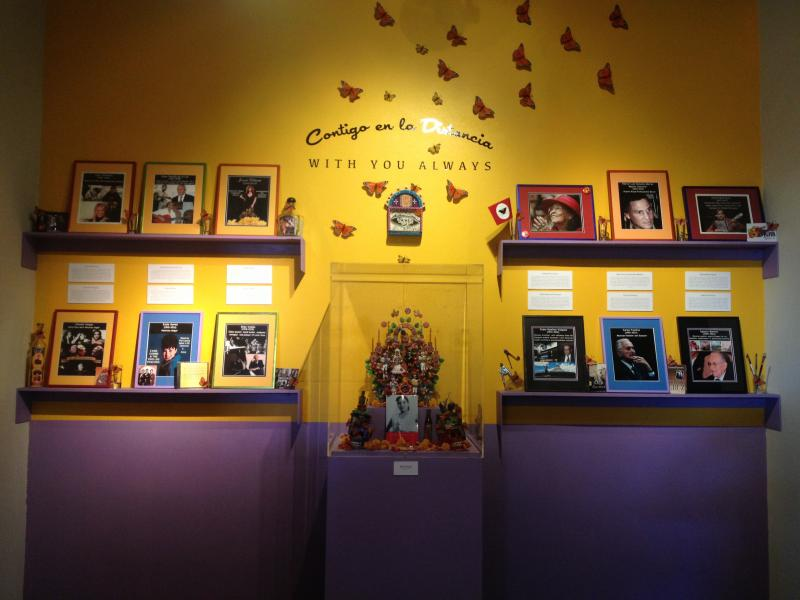 Helen Rael's altar at Arte Americas honors Latino icons who died recently.
