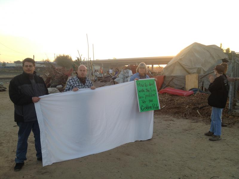 Homeless advocates were prepared to resist the destruction of the encampment.