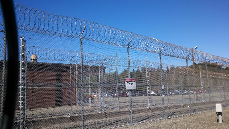 The electrified fence around Pelican Bay State Prison