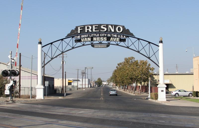 Fresno's historic 1920's era welcome archway, on South Van Ness Avenue may move after the state's high speed rail project turns the street into a culdesac.