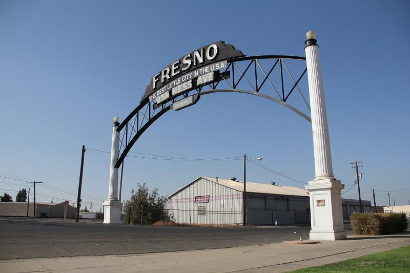 The archway on South Van Ness Avenue was built in the 1920's to welcome travelers off of Railroad Avenue, which was then Highway 99