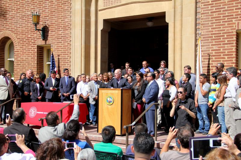 A crowd of around 300 gathered at Fresno City College on Thursday afternoon to hear Brown's speech