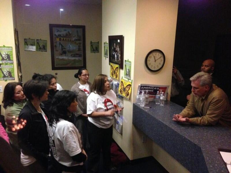 Late Wednesday, Congressman Kevin McCarthy returned to his office to meet with the protesters, after attending an event at CSU Bakersfield with technology entrepreneur Elon Musk.
