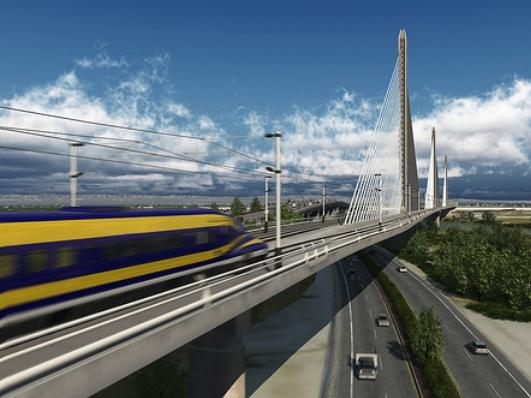 A rendering of the High-Speed Rail line through Bakersfield.