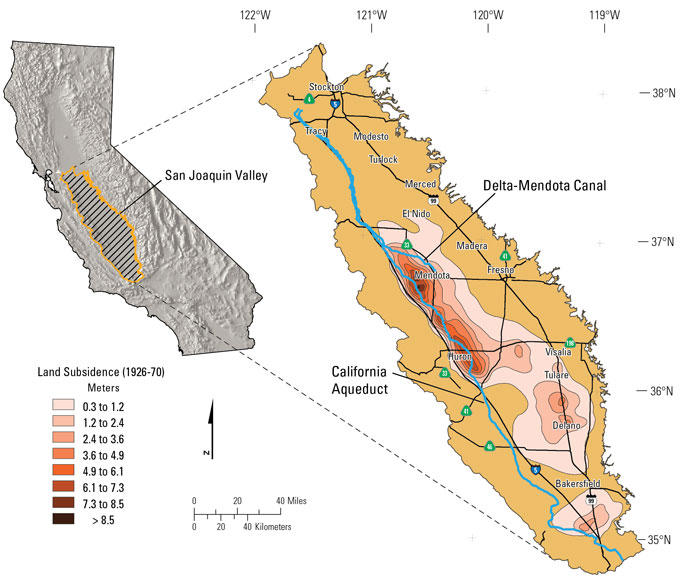 Map showing land subsidence in the San Joaquin Valley, California, 1926–70. Darker colors indicate areas of greater subsidence.