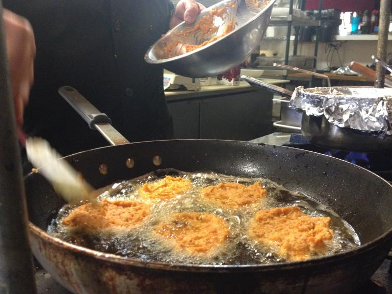 On Thanksgivukkah, families can serve sweet potato latkes instead of mashed potatoes.