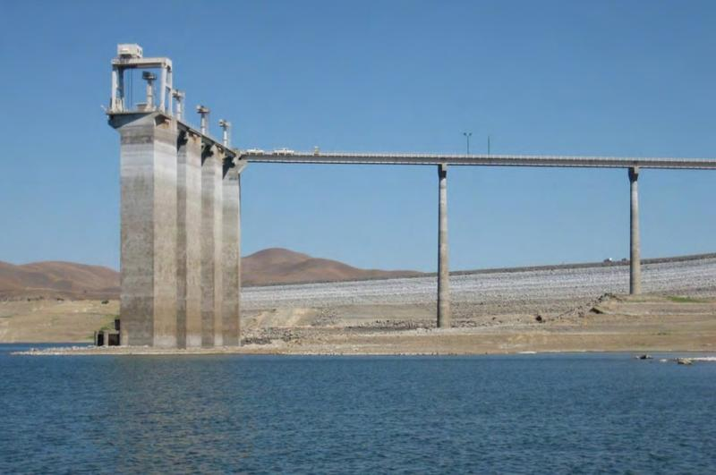 Intake towers at San Luis Reservoir in Merced County would be raised under a new proposal by the U.S. Bureau of Reclamation
