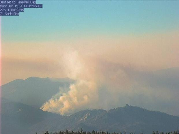 A webcam image taken Wednesday at Bald Mountain shows smoke from the Soda Fire, which is burning in the remote Golden Trout Wilderness.