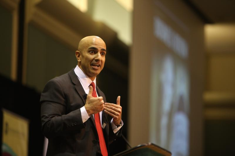 "Caption: Former ""TARP"" chief Neel Kashkari tells a crowd at Sacramento State University Tuesday that he's running for governor of California."