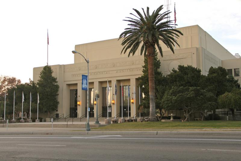 Fresno's Memorial Auditorium is a massive Art Deco-inspired downtown landmark