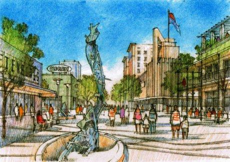 A conceptual rendering from the Fulton Corridor Specific Plan shows a vision for a mixed use area with entertainment and housing along the Kern Mall gate to Chukchansi Park