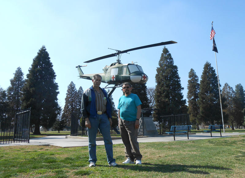 John Coffee and his partner Brock Neely at the Rotary Veterans Park of Porterville, Calif.