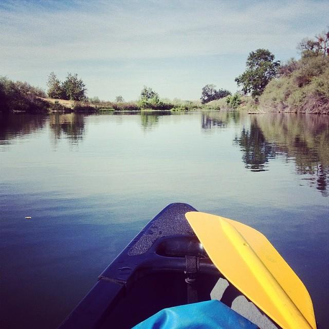 Canoeing  on the San Joaquin River for a story.
