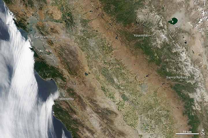 June 2014: Fallowed farms in the San Joaquin Valley can be seen in this image from NASA's MODIS instrument, taken June 24, 2014