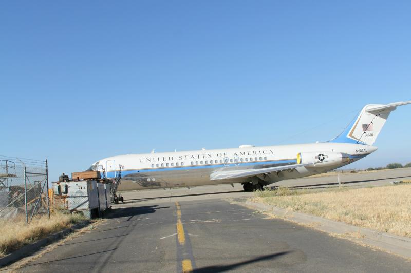 A retired Air Force One aircraft is used for testing at the base.