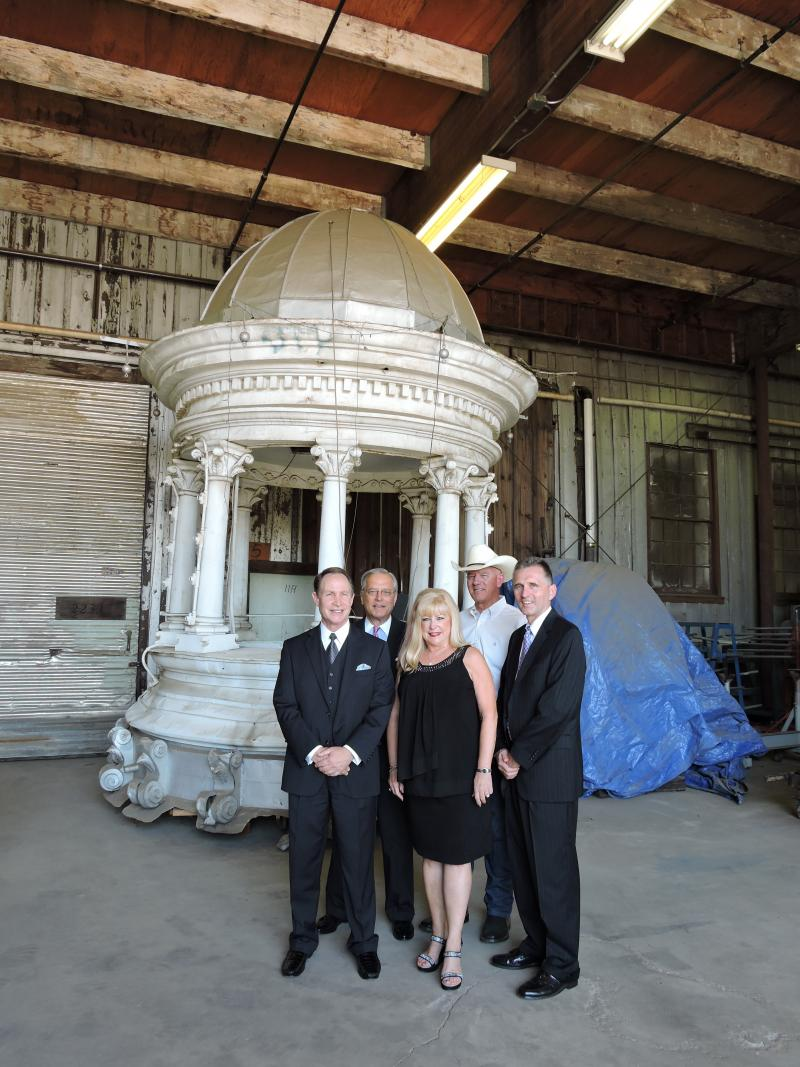 Representatives of the Big Fresno Fair and the Fresno Historical Society gather to announce the restoration of the cupola and plans for the new museum.