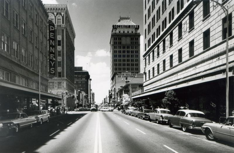 Fulton Street as seen in this photo from the early 1960's before the mall was a four lane stretch of asphalt.