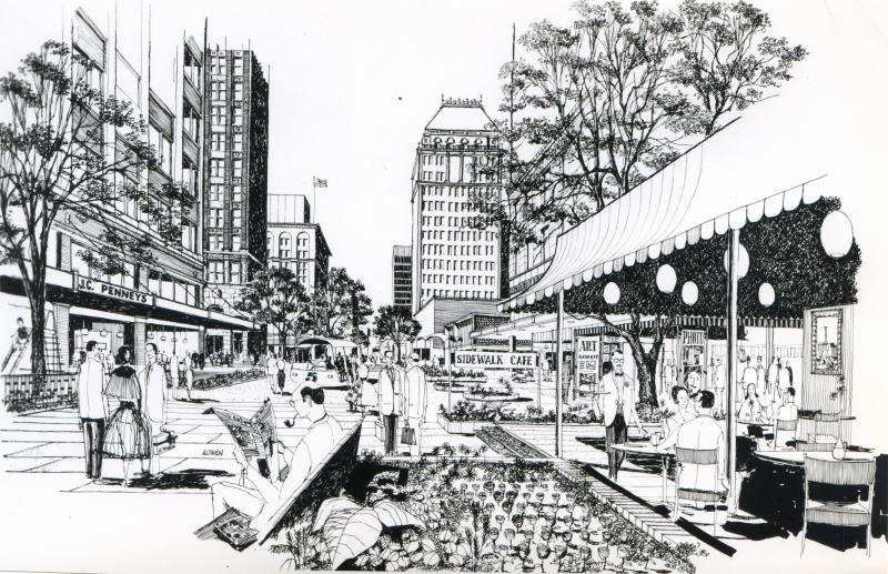 Victor Gruen's vision for the Fulton Mall included sidewalk cafes and lush landscaping.