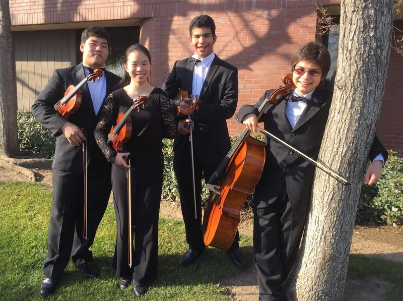 The Bakersfield Youth Symphony String Quartet performs in-studio at Valley Public Radio