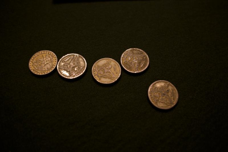 Historic 1-ounce gold coins on display at the treasury in the Capitol.