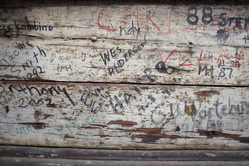 Graffiti, often lawmaker's names, is scrawled throughout the interior of the Capitol dome.