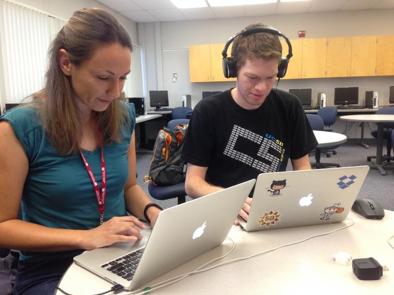 Nevena Golubovic and Kyle Jorgensen were the main coders for the app SWARM at the competition.