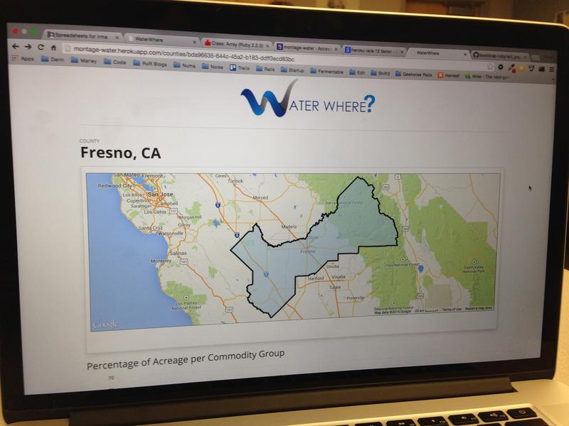 Water Where? is a web tool created at the event that breaks down exactly how much water is used for a crop by California County.