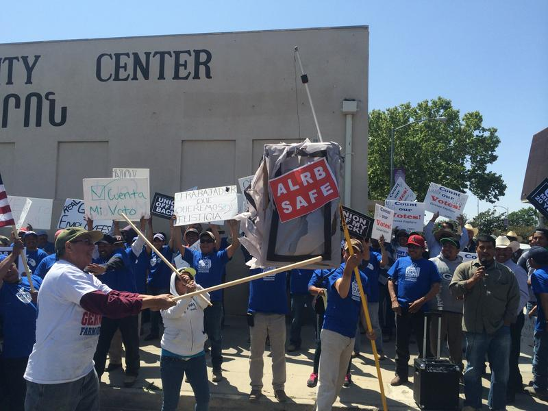 Protestors gathered outside the 5th District Court of Appeals earlier this year to criticize the state's Ag Labor Relations Board