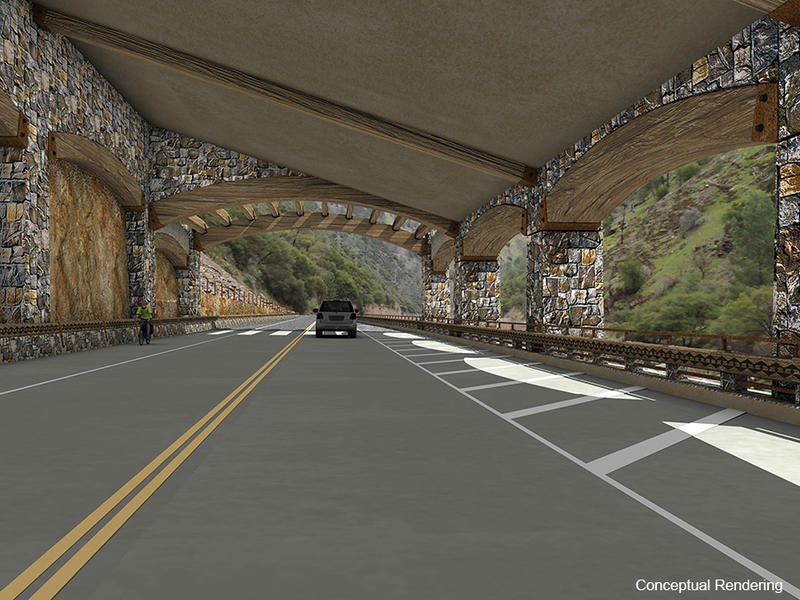 A conceptual drawing of the rockshed proposed for Highway 140