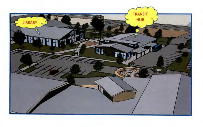 The new Clovis Library would be built next to a planned transit center and a new senior center.