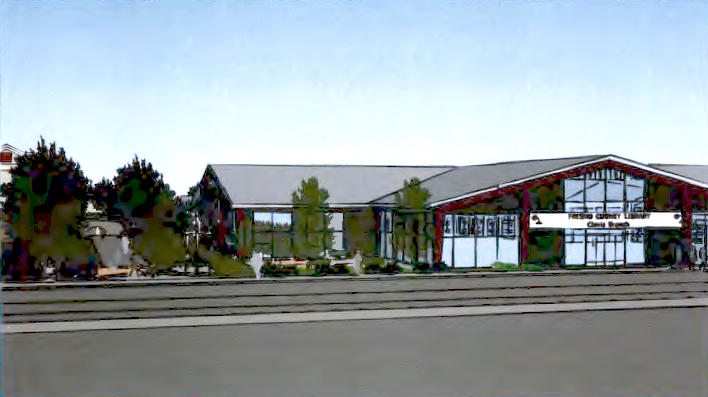 A conceptual plan for a new Clovis Regional Library on Third Street.